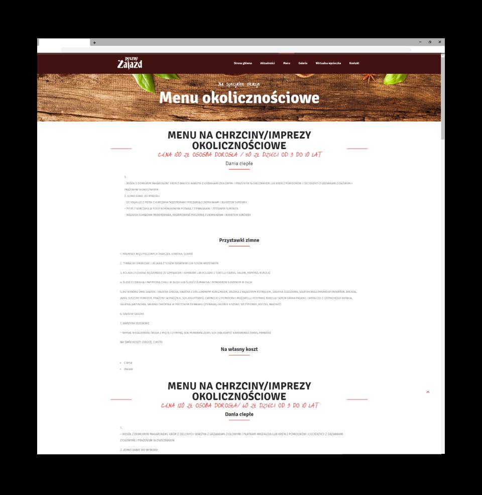 strona www menu