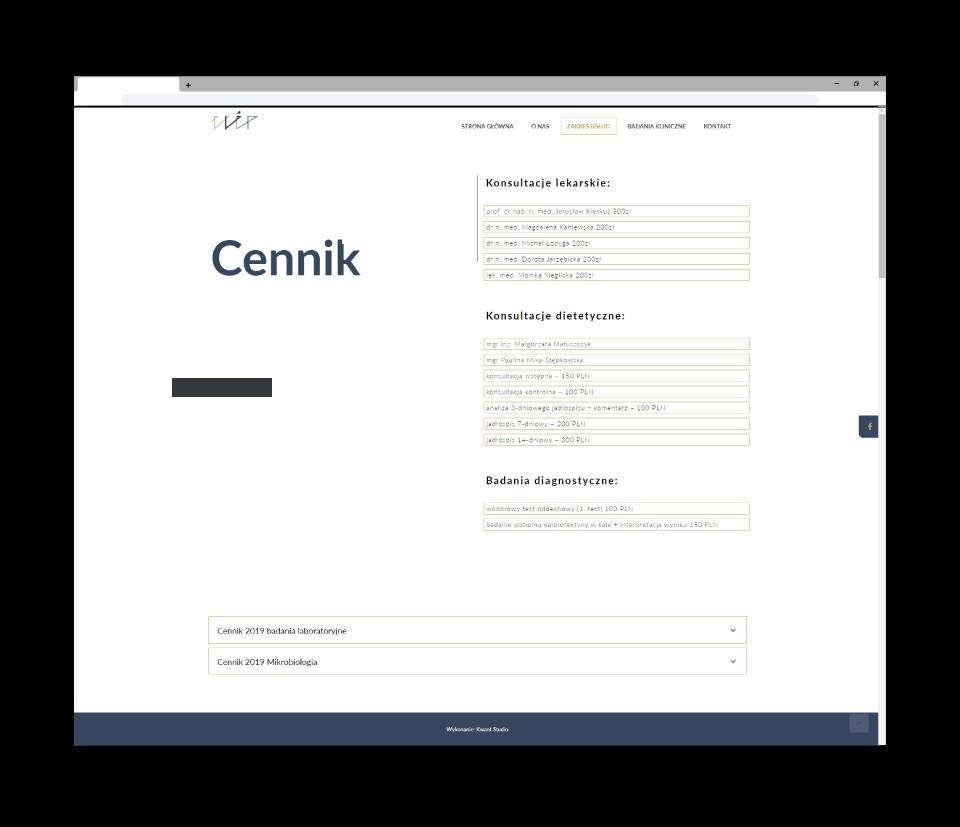 strona www cennik